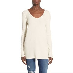 Nordstrom Leith rib knit tunic Vneck sweater